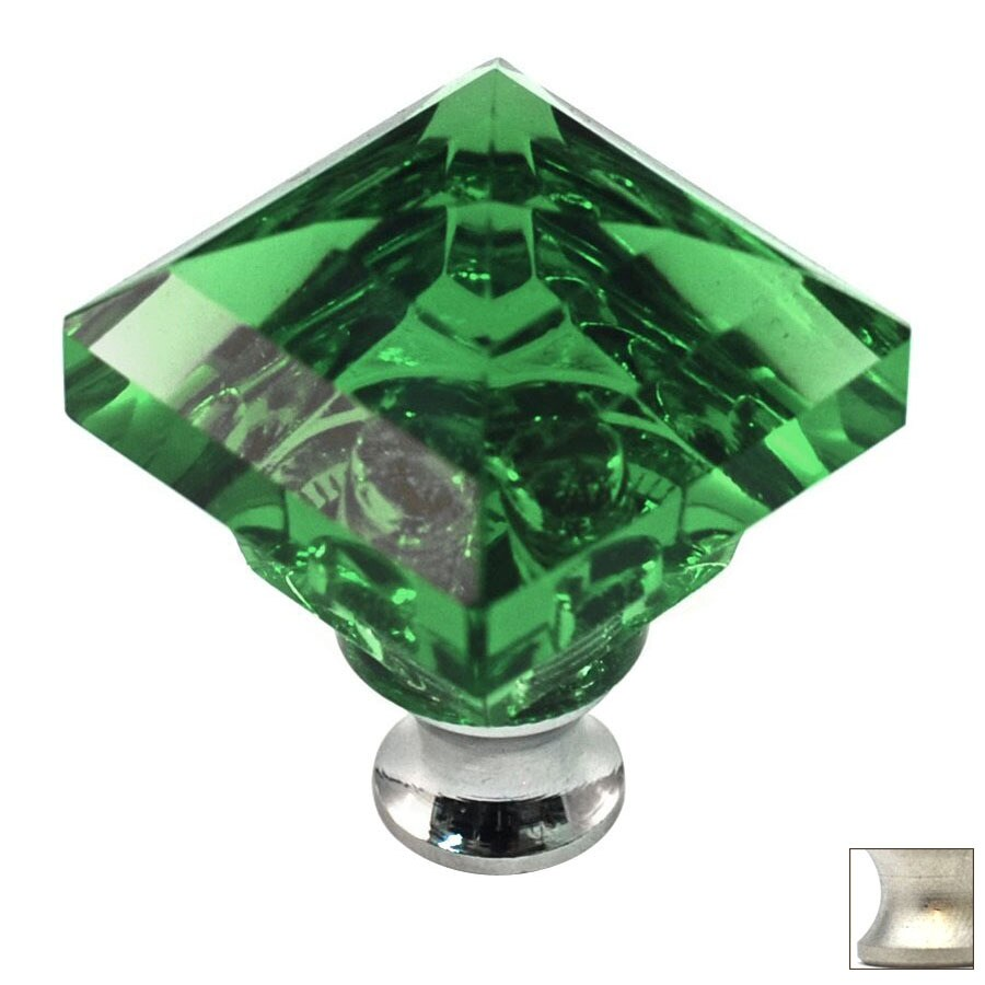 Cal Crystal Satin Nickel Crystal Square Cabinet Knob