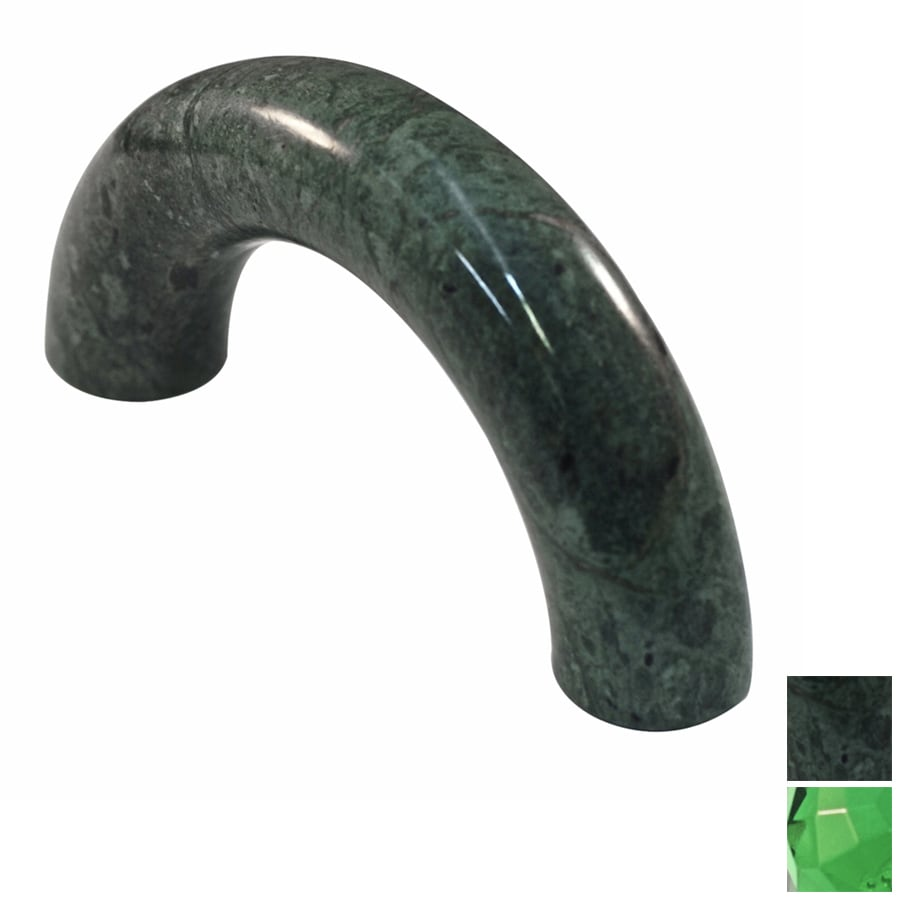 Cal Crystal 3-in Center-to-Center Green Marble Arched Cabinet Pull