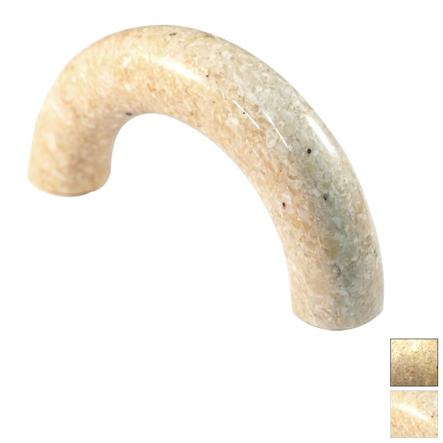 Cal Crystal 3-in Center-to-Center Beige Marble Arched Cabinet Pull