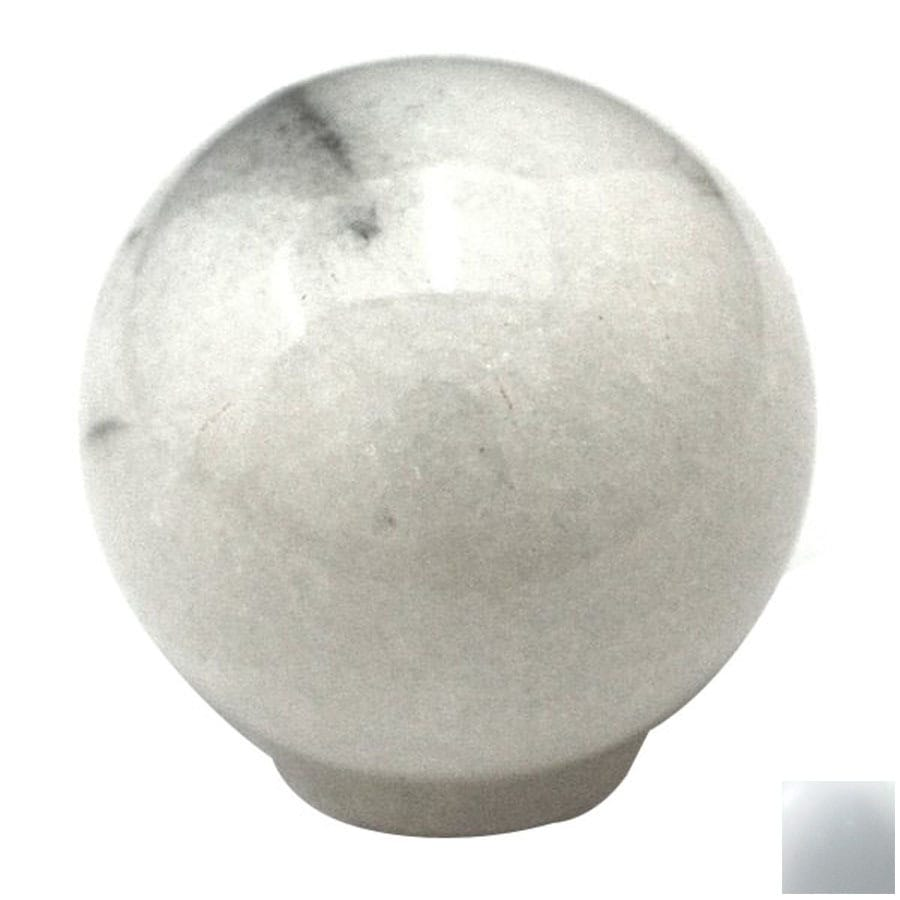 Cal Crystal White Marble Globe Cabinet Knob