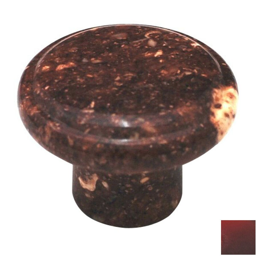 Cal Crystal Red Marble Round Cabinet Knob