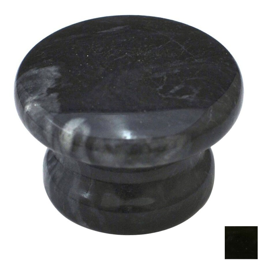 Cal Crystal Black Marble Round Cabinet Knob