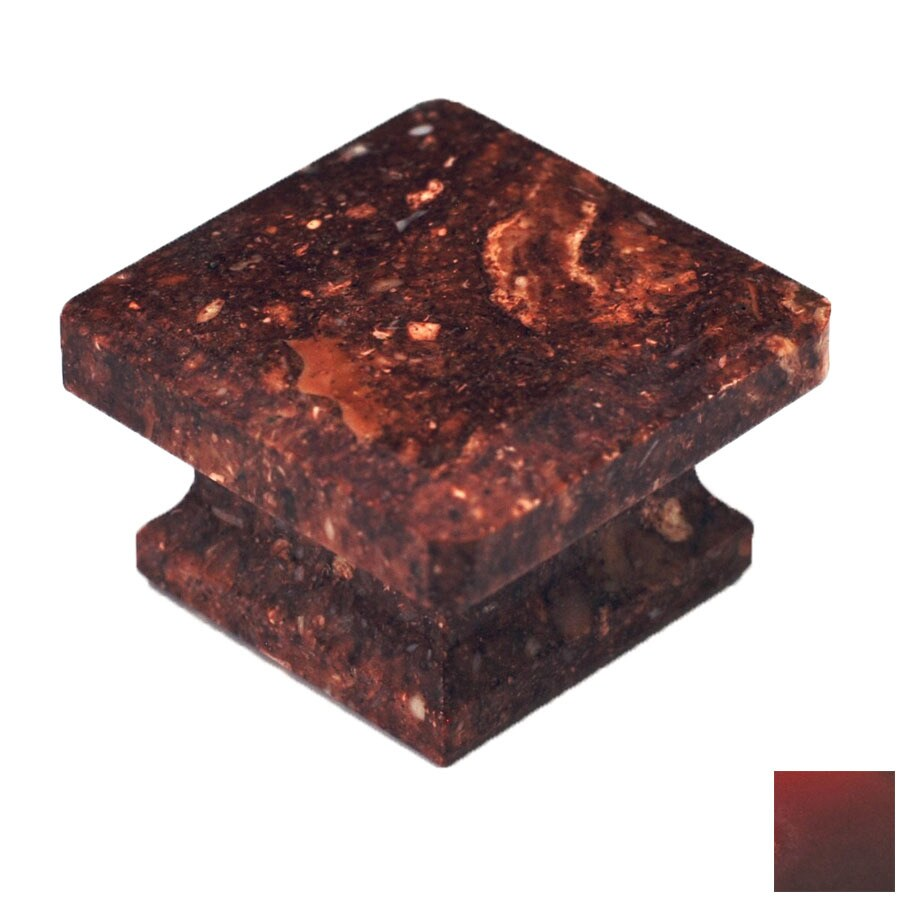 Cal Crystal Red Marble Square Cabinet Knob