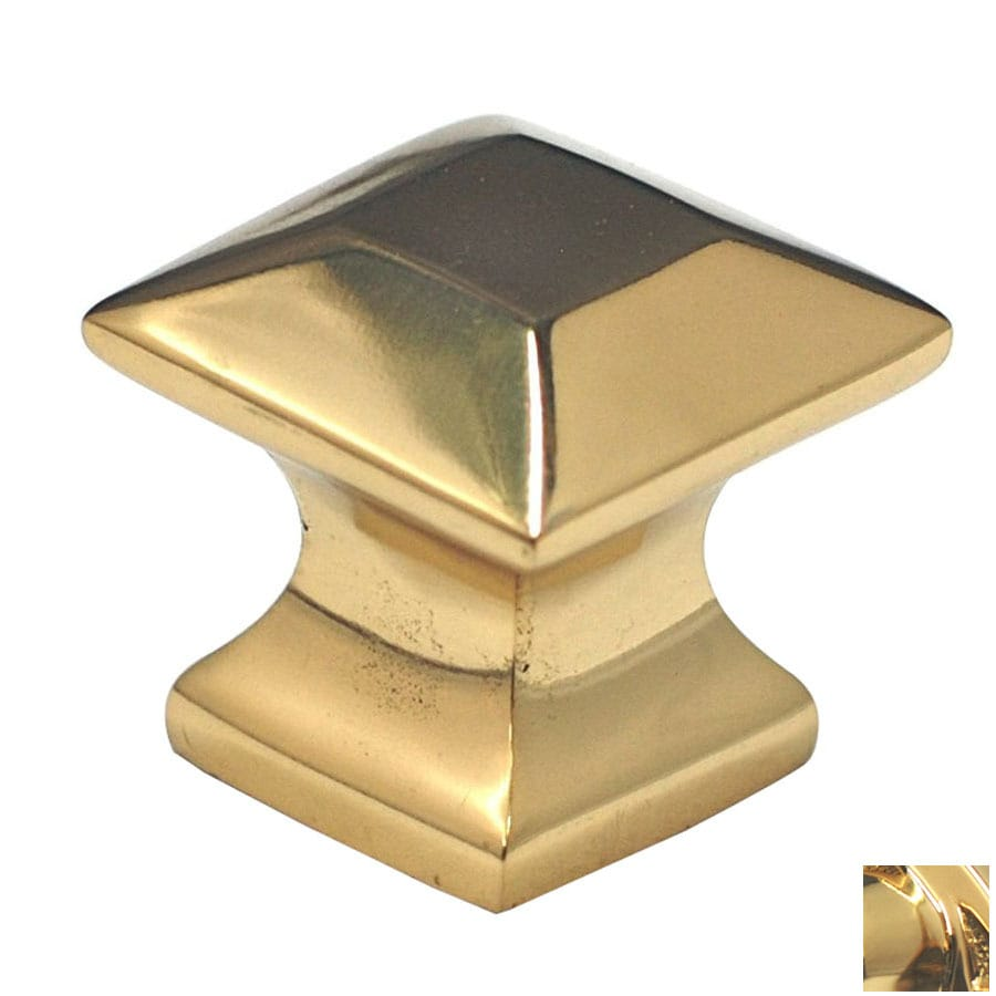Cal Crystal Polished Brass Vintage Square Cabinet Knob