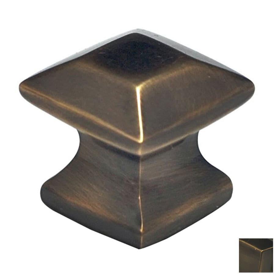 Cal Crystal Antique Brass Vintage Square Cabinet Knob