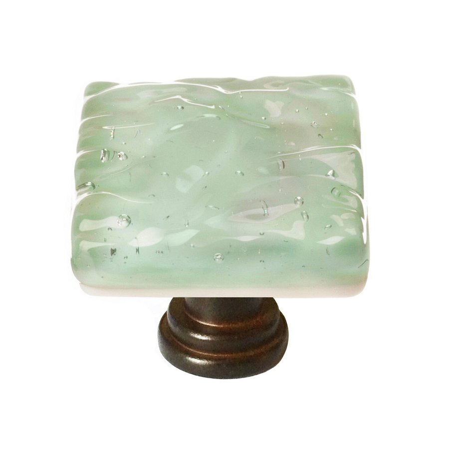 Sietto Glacier Spruce Green/Oil-Rubbed Bronze Square Cabinet Knob