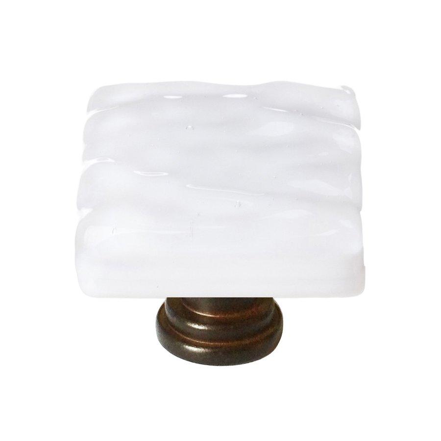 Sietto Glacier White/Oil-Rubbed Bronze Square Cabinet Knob
