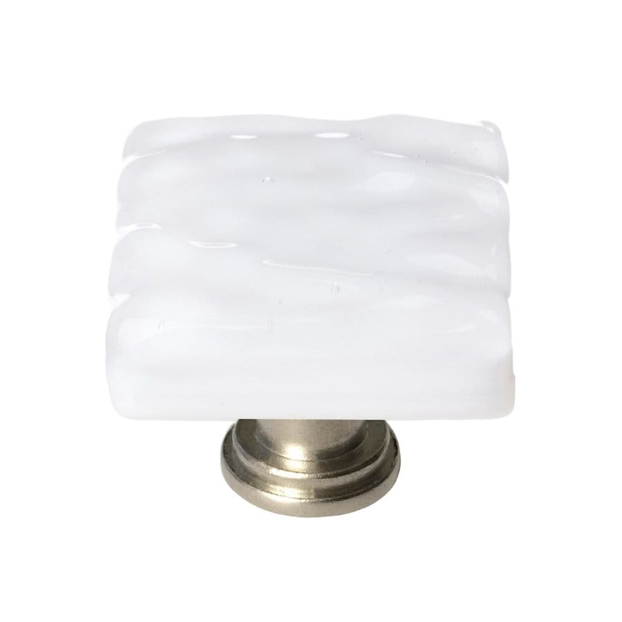 Sietto Glacier White/Satin Nickel Square Cabinet Knob