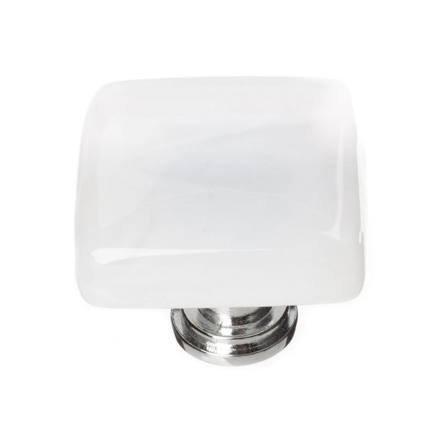 Sietto Cirrus White/Polished Chrome Square Cabinet Knob