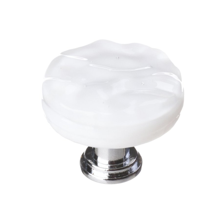 Sietto Glacier White/Polished Chrome Round Cabinet Knob