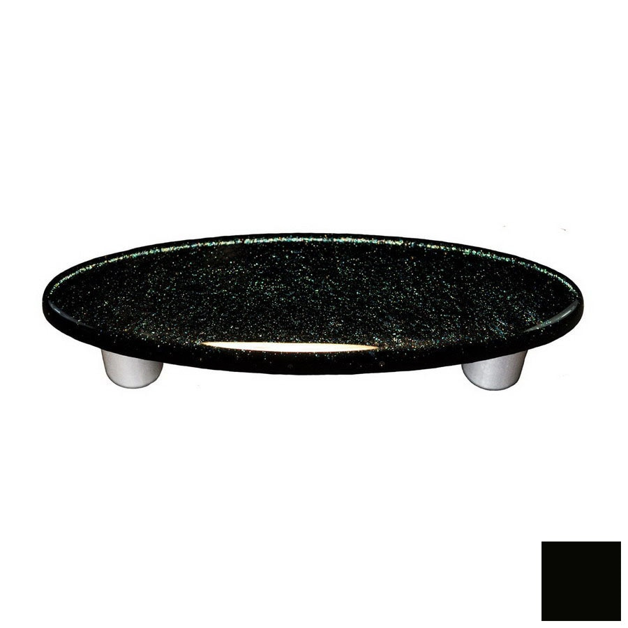 Hot Knobs 3-in Center-to-Center Black Solid Oval Cabinet Pull