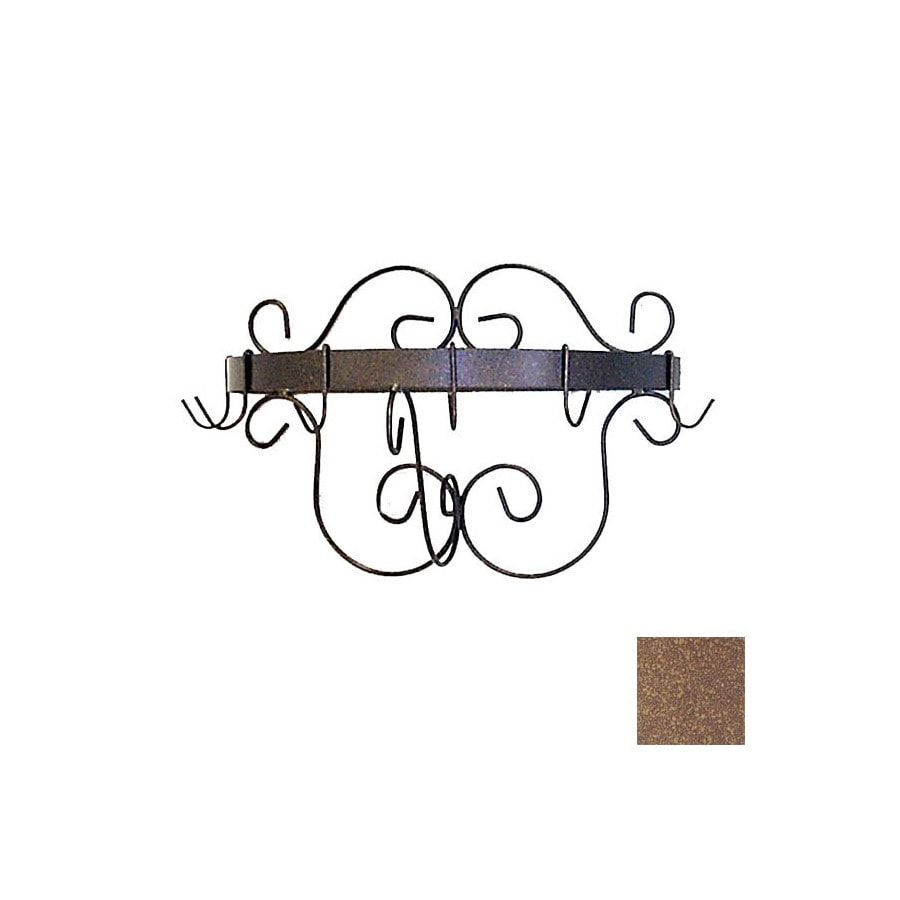 Grace Collection 20-in x 10-in Burnished Copper Half Round Pot Rack