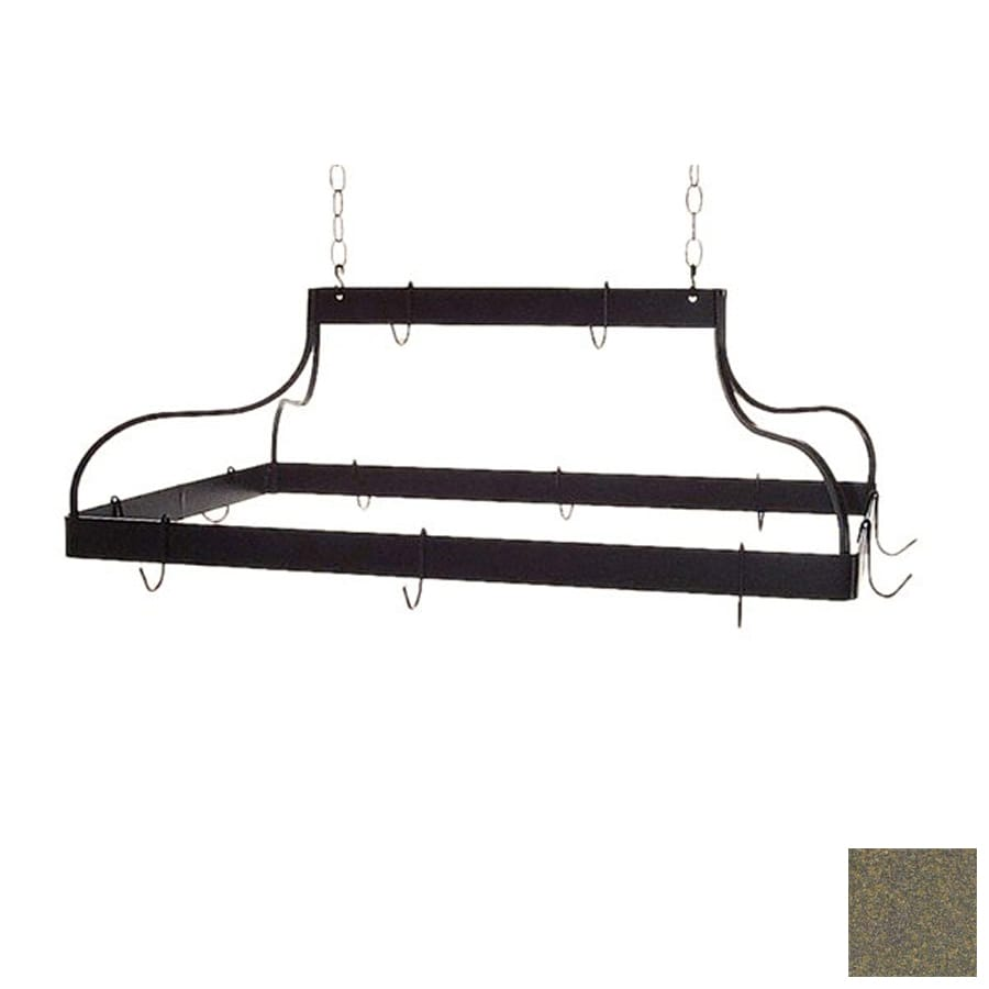 Grace Collection 36-in x 18-in Antique Bronze Rectangle Pot Rack