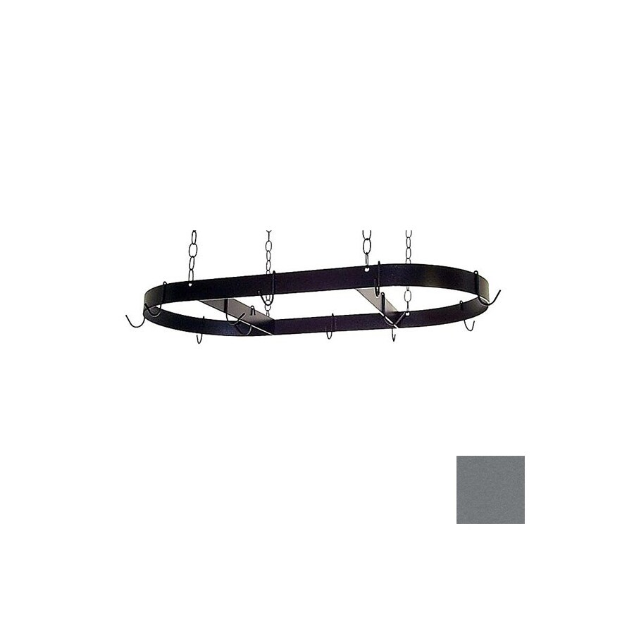 Grace Collection 36-in x 18-in Gun Metal Oval Pot Rack
