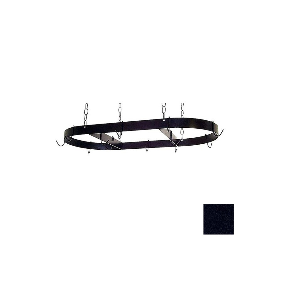 Grace Collection 36-in x 18-in Satin Black Oval Pot Rack