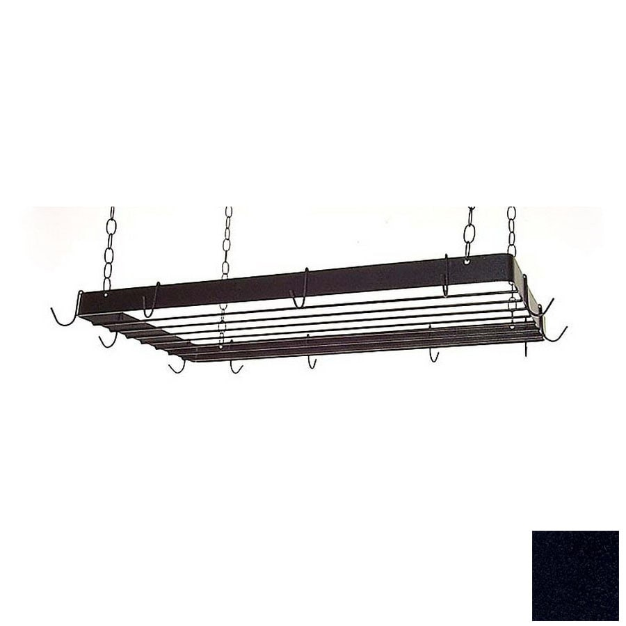Grace Collection 36-in x 18-in Satin Black Rectangle Pot Rack