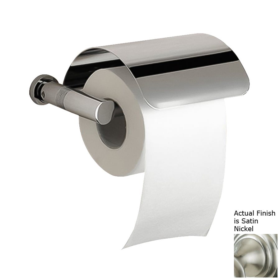 Nameeks Windisch Cylinder Satin Nickel Surface Mount Toilet Paper Holder with Cover