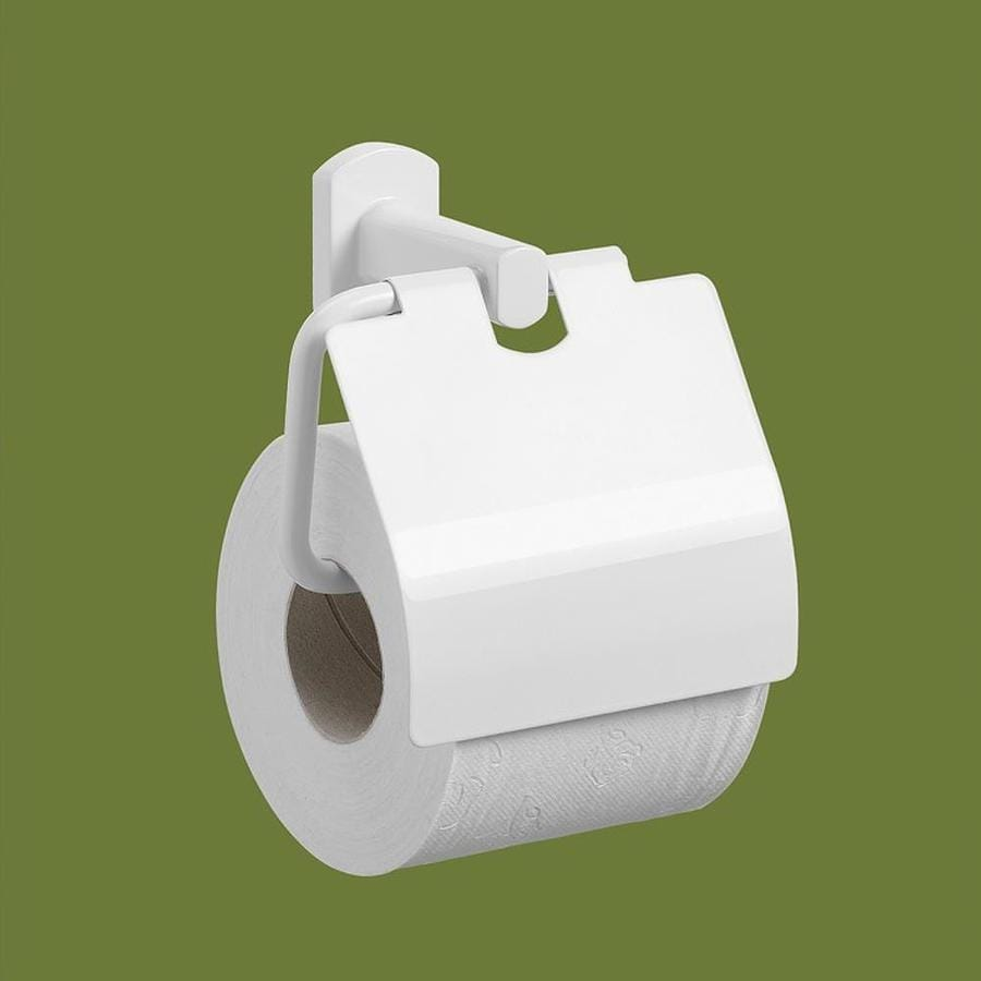 Nameeks Edera White Surface Mount Toilet Paper Holder with Cover