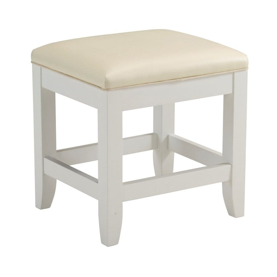 Awesome Home Styles 19 In H White Rectangular Makeup Vanity Stool