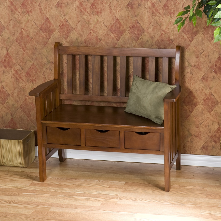 Boston Loft Furnishings Ballantyne Transitional Country Oak Storage Bench