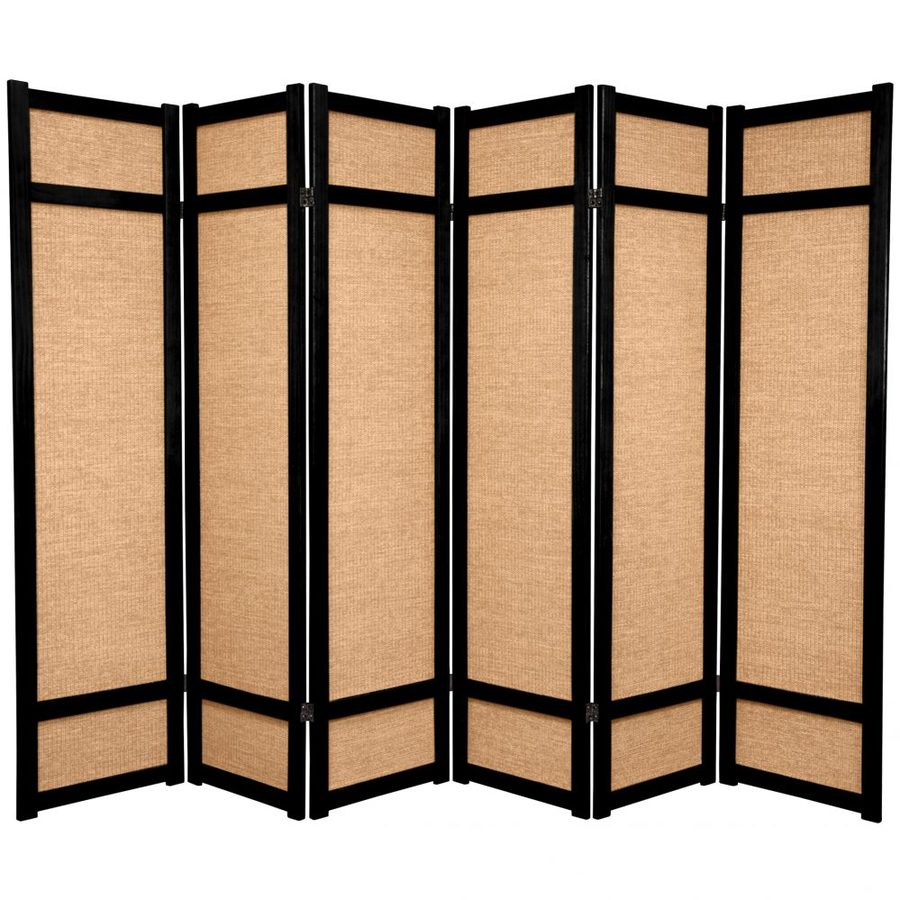 Oriental Furniture Jute 6-Panel Black Wood and Fabric Folding Indoor Privacy Screen