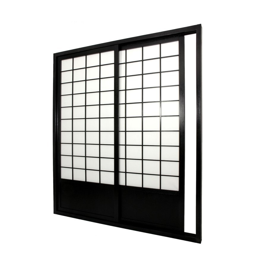 Oriental Furniture 2 Panel Black Paper Sliding Indoor Privacy Screen
