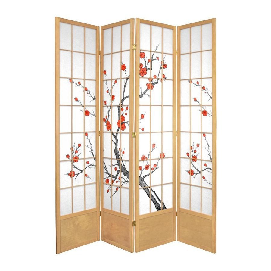 Oriental Furniture Cherry Blossom 4-Panel Natural Paper Folding Indoor Privacy Screen