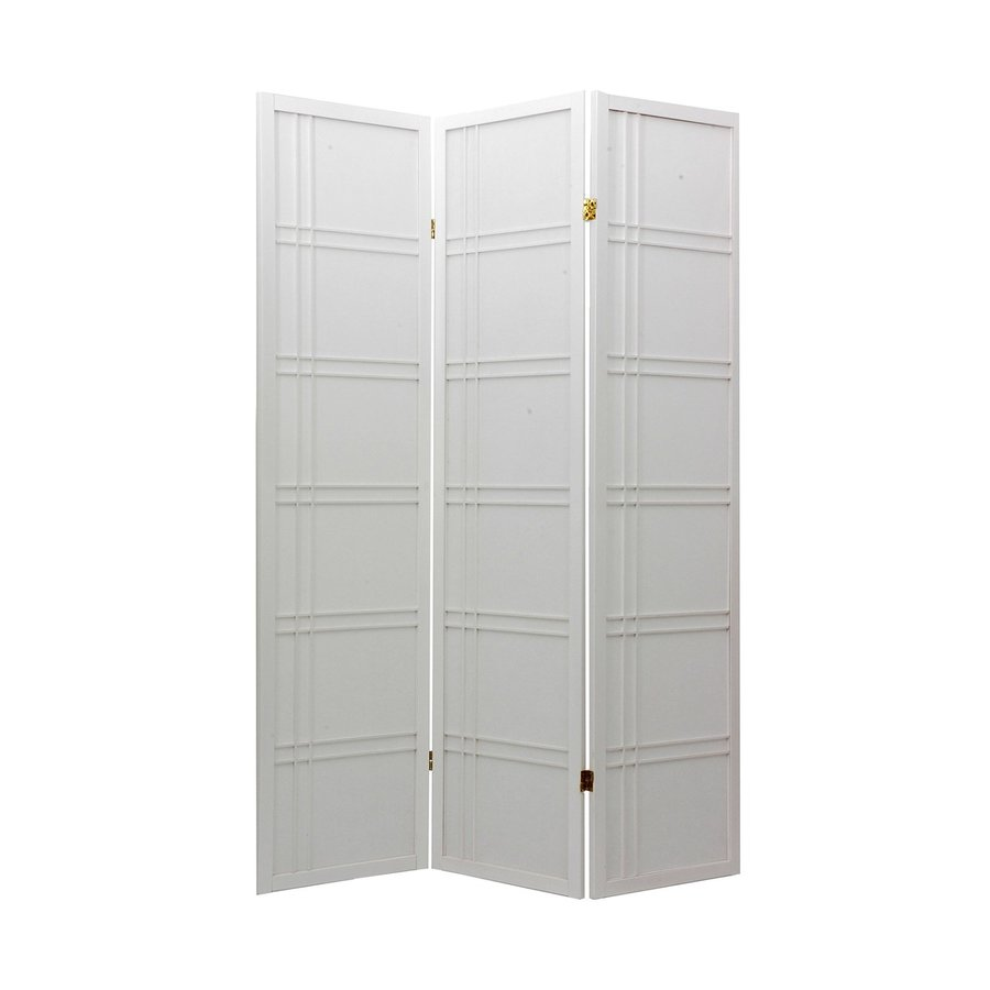 Oriental Furniture Double Cross 3-Panel White Paper Folding Indoor Privacy Screen