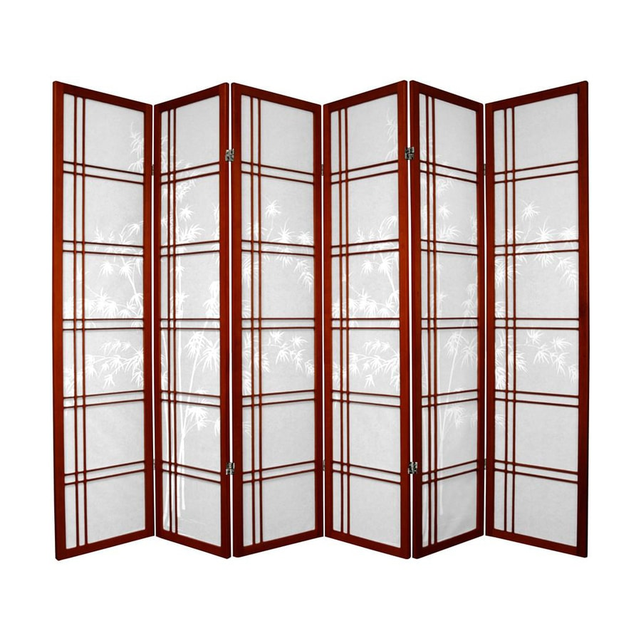 Oriental Furniture Double Cross 6-Panel Rosewood Paper Folding Indoor Privacy Screen