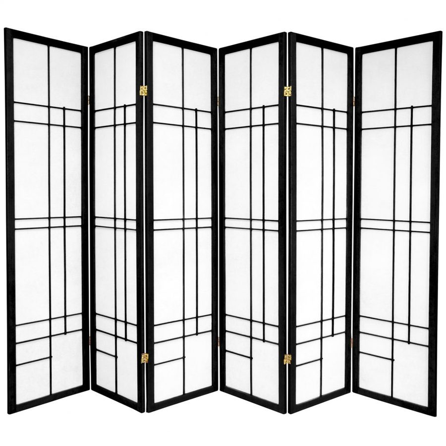 Oriental Furniture Eudes 6-Panel Black Paper Folding Indoor Privacy Screen