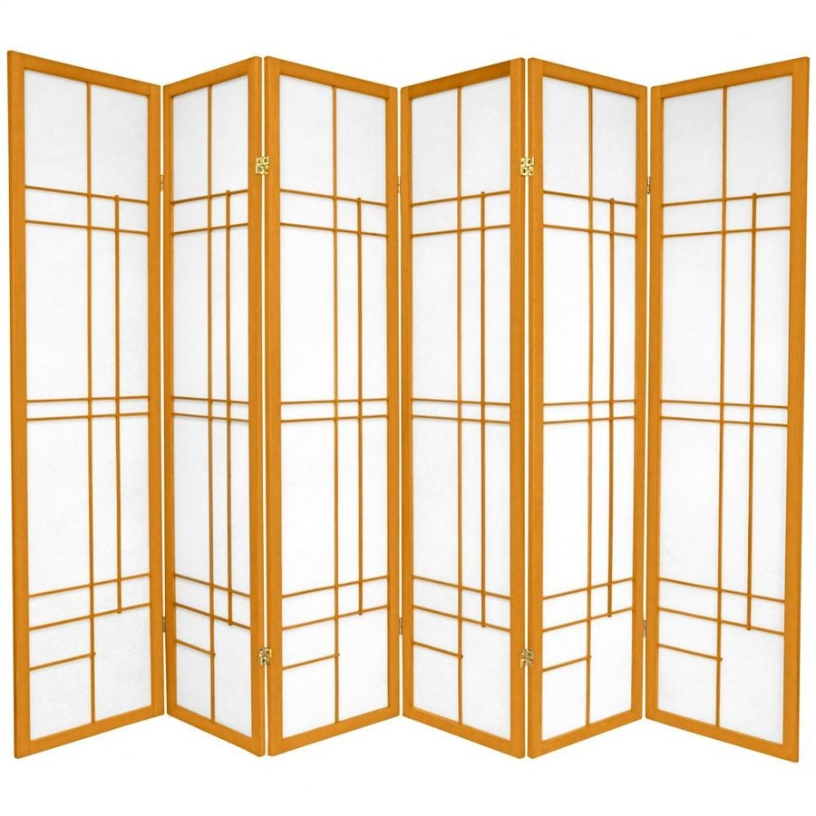 Oriental Furniture Eudes 6-Panel Honey Paper Folding Indoor Privacy Screen