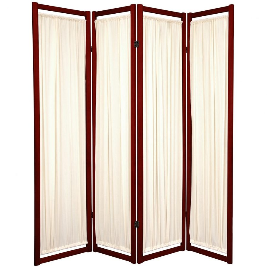 Oriental Furniture Helsinki 4-Panel Rosewood Paper Folding Indoor Privacy Screen