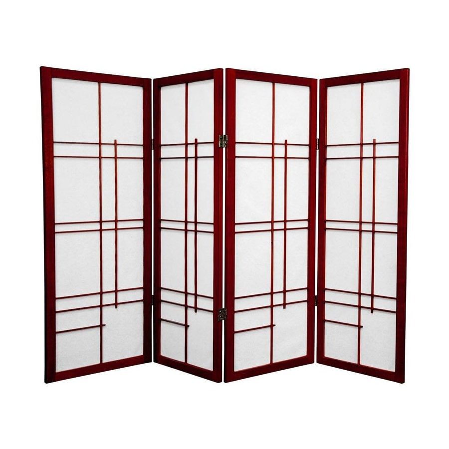 Oriental Furniture Eudes 4-Panel Rosewood Wood and Paper Folding Indoor Privacy Screen