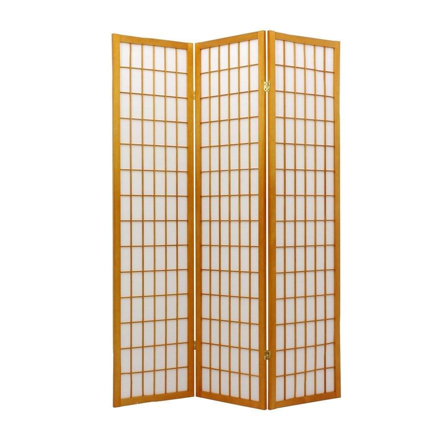 Oriental Furniture Window Pane 3-Panel Honey Paper Folding Indoor Privacy Screen