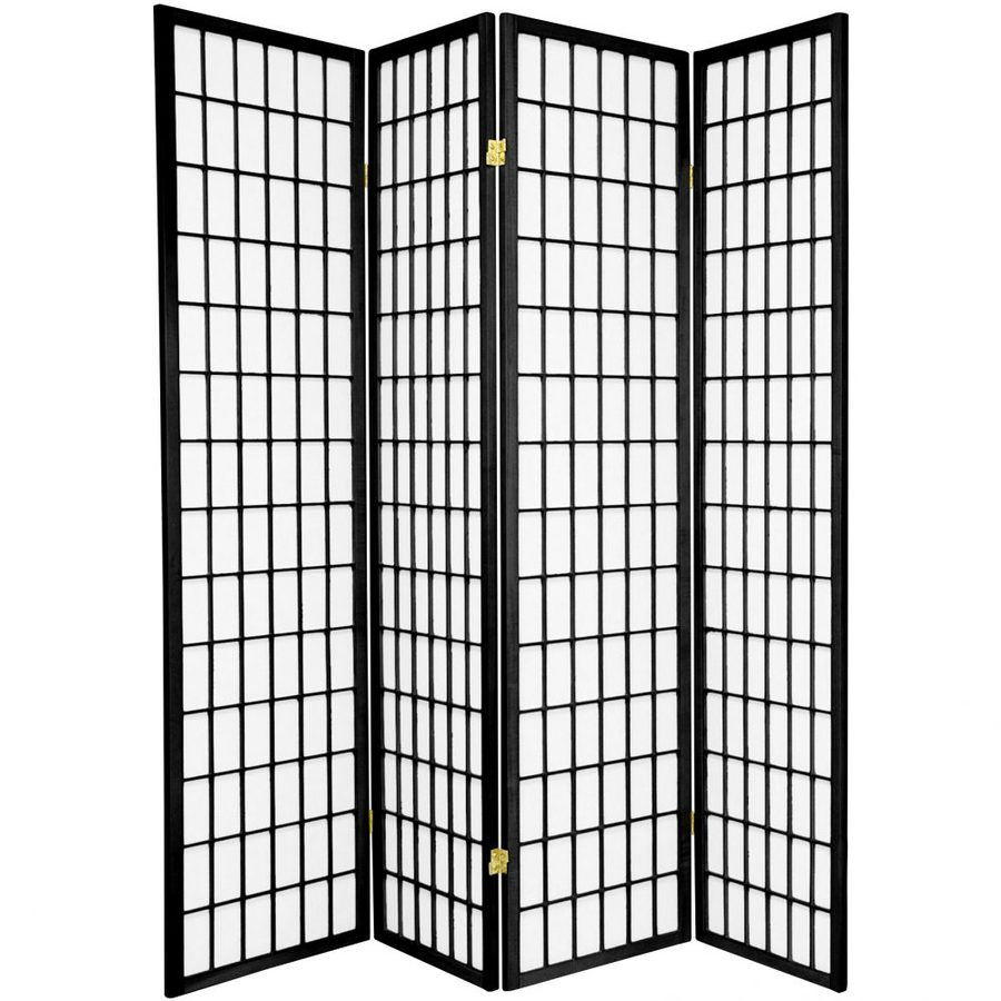 Shop Oriental Furniture Window Pane 4-Panel Black Paper Folding ...
