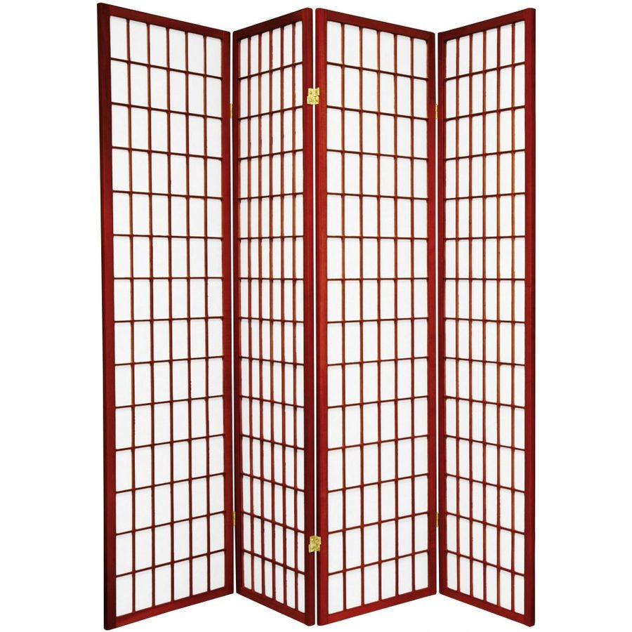 Oriental Furniture Window Pane 4-Panel Rosewood Paper Folding Indoor Privacy Screen