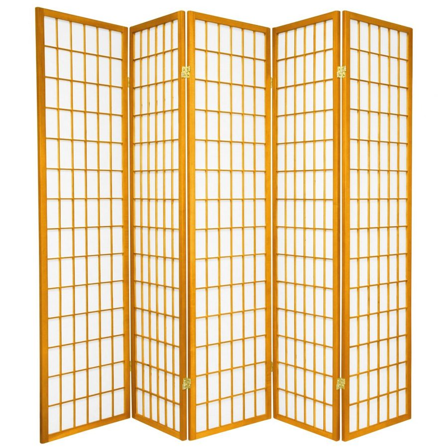 Oriental Furniture Window Pane 5-Panel Honey Wood and Paper Folding Indoor Privacy Screen