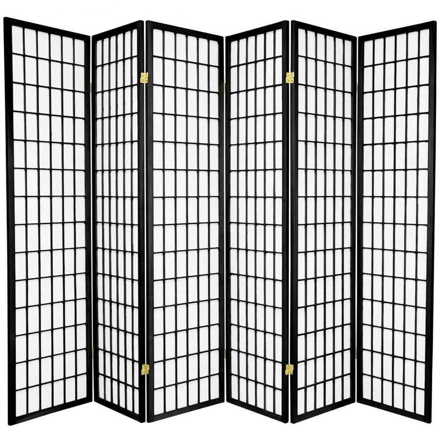 Oriental Furniture Window Pane 6-Panel Black Paper Folding Indoor Privacy Screen