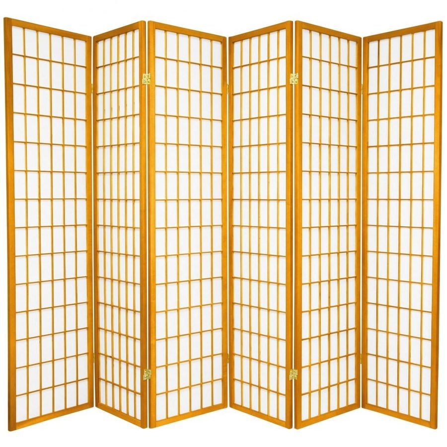 Oriental Furniture Window Pane 6-Panel Honey Paper Folding Indoor Privacy Screen