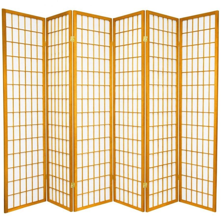 Oriental Furniture Window Pane 6-Panel Honey Paper Folding Indoor Privacy Screen