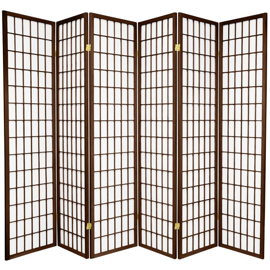 Oriental Furniture Window Pane 6-Panel Walnut Wood and Paper Folding Indoor Privacy Screen