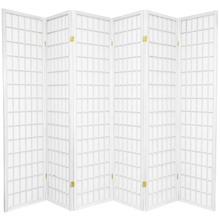 Oriental Furniture Window Pane 6-Panel White Paper Folding Indoor Privacy Screen