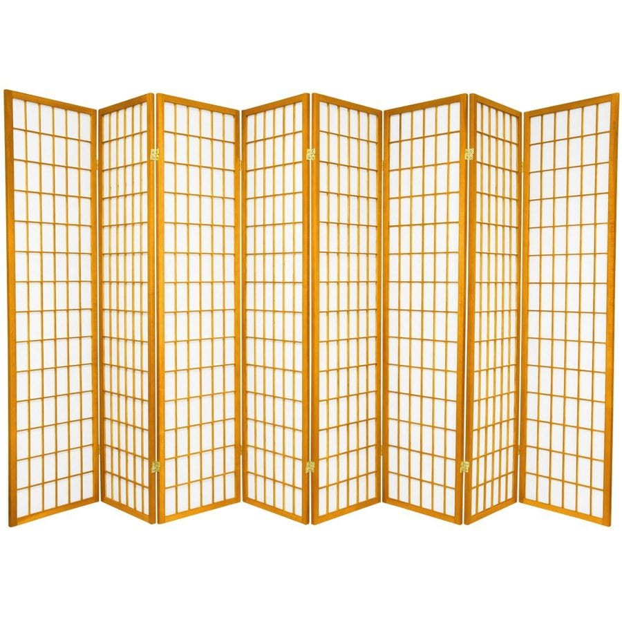 Oriental Furniture Window Pane 8-Panel Honey Wood and Paper Folding Indoor Privacy Screen