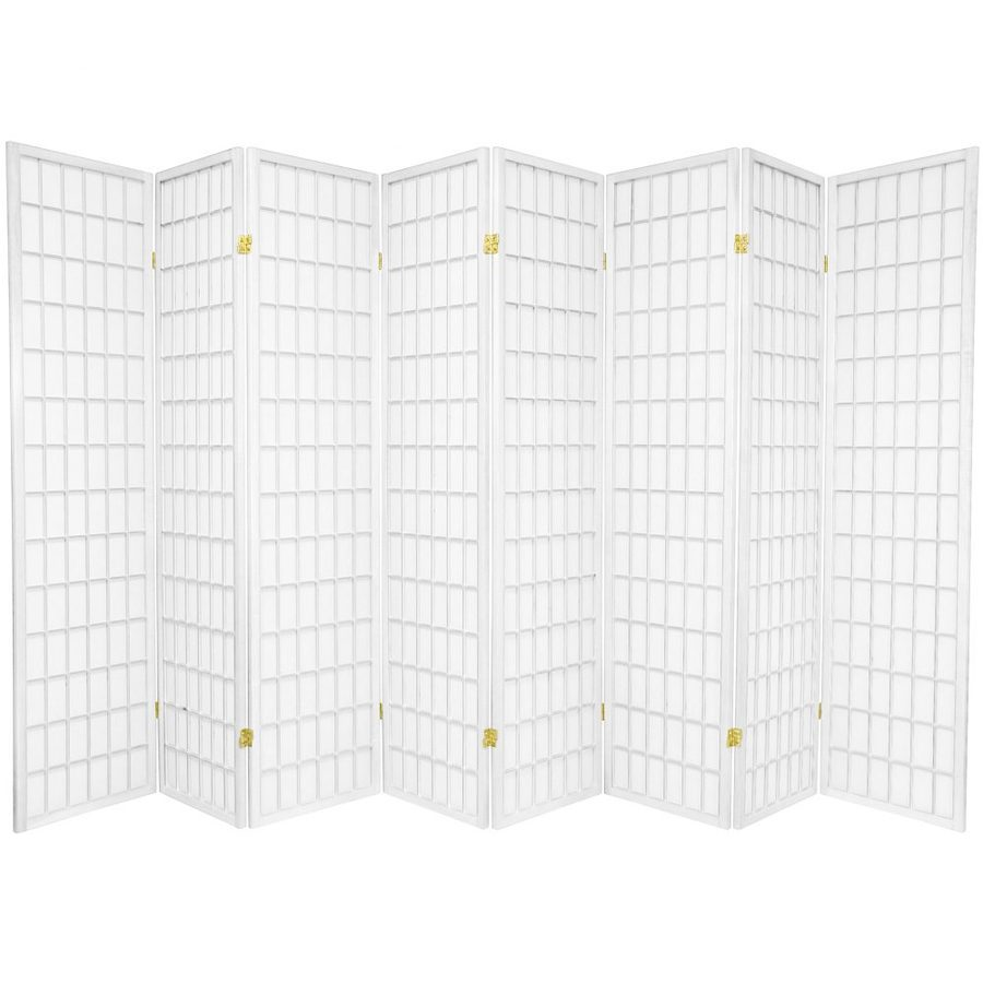 Oriental Furniture Window Pane 8-Panel White Wood and Paper Folding Indoor Privacy Screen