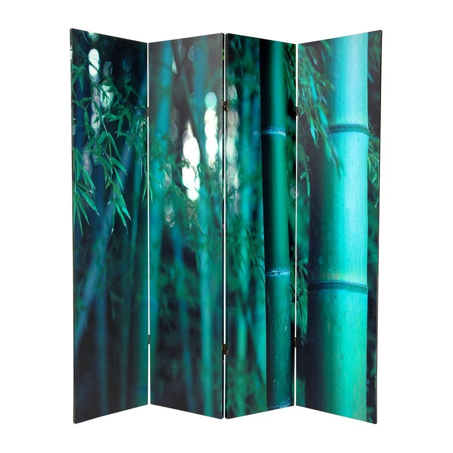 Oriental Furniture Bamboo Tree 4-Panel Green Fabric Folding Indoor Privacy Screen