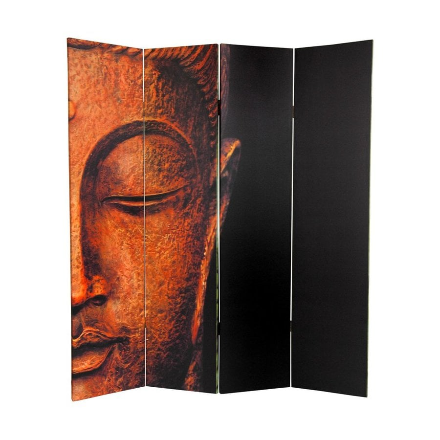Oriental Furniture Buddha and Ganesh 4-Panel Multicolor Wood and Fabric Folding Indoor Privacy Screen