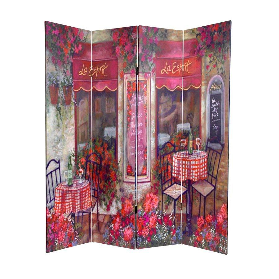 Oriental Furniture Parisian Cafe 4-Panel Multicolor Fabric Folding Indoor Privacy Screen