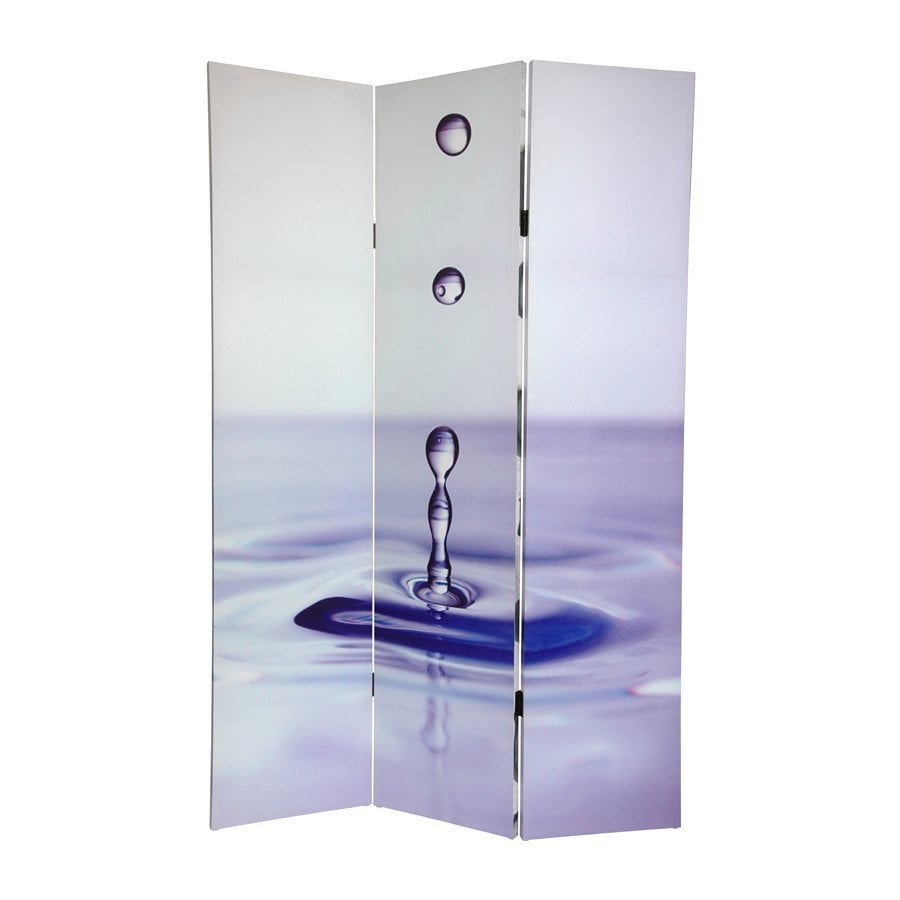 Oriental Furniture Water Zen 3-Panel Multicolor Fabric Folding Indoor Privacy Screen