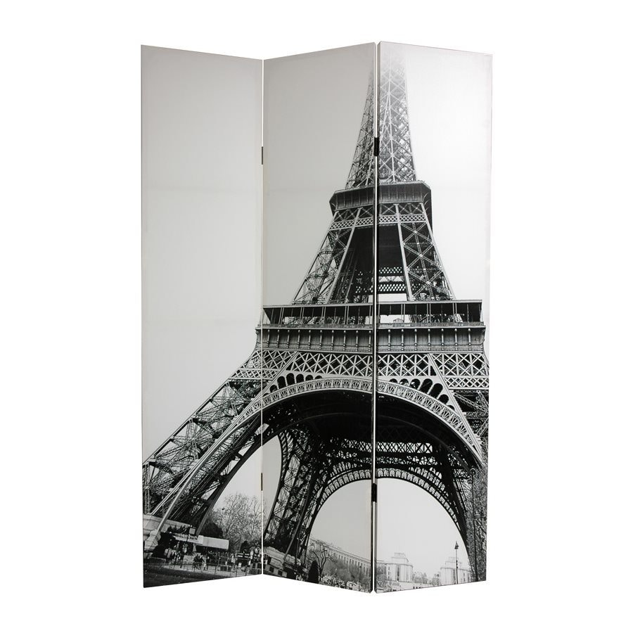 Oriental Furniture Eiffel Tower 3 Panel Black/White Fabric Folding Indoor  Privacy Screen