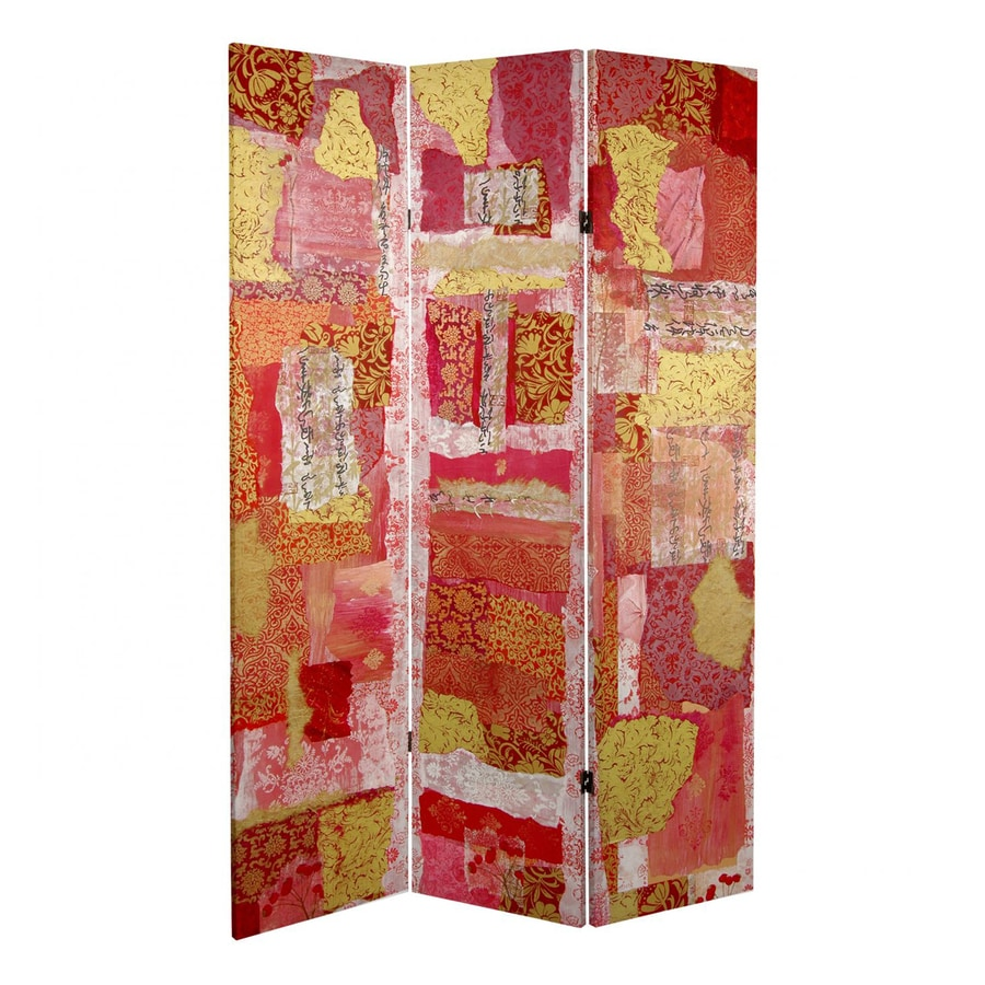 Oriental Furniture Avant-Garde Collage 3-Panel Multicolor Fabric Folding Indoor Privacy Screen
